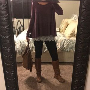 Free People Waffle Knit Scoop Neck Thermal